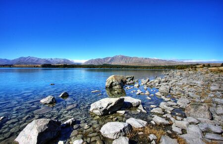 Lake Topeka in New Zealand against a blue sky Stock Photo
