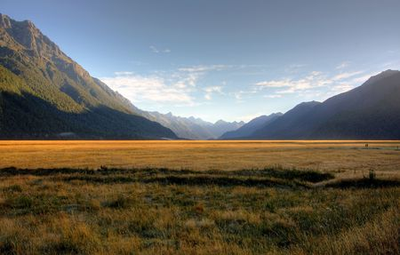Mount Cook in New Zealand on a blue day photo