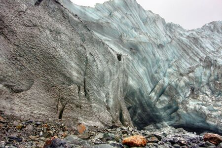 eyes cave: Fox Glacier on a cold day in New Zealand Stock Photo