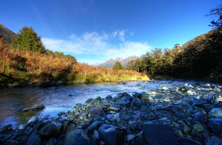 Spectacular mountain and river scenery in New Zealand Stock Photo - 4854405