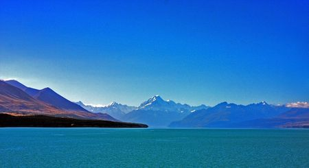 south island new zealand: Mount Cook in New Zealand on a blue day