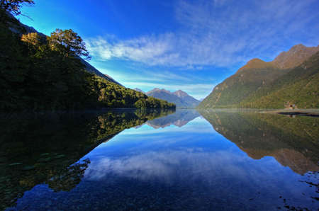 Mirror Lakes along the way to Milford Sound, New Zealand photo