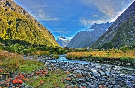 Spectacular mountain and river scenery in New Zealand photo