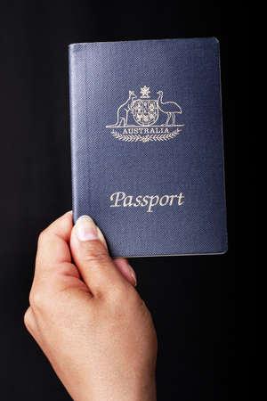 Australian Passport on black background photo