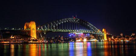 Sydney Harbour bridge in dusk lighting Stock Photo