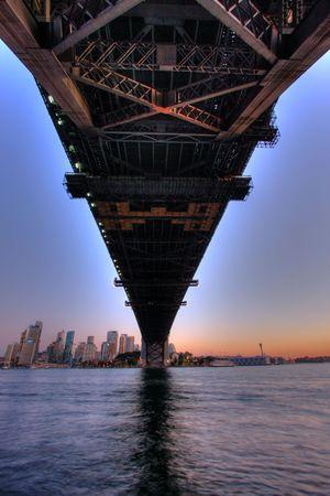 Sydney Harbour bridge in dusk lighting photo