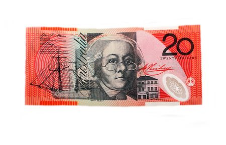 twenty: Twenty dollar bill, isolated on white Stock Photo