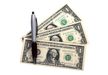 contando dinero: contar dinero contra el fondo blanco Foto de archivo