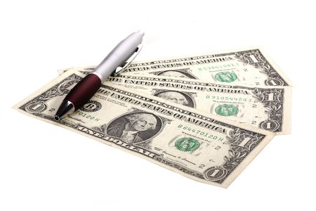 counting money against white background Stock Photo - 5022760