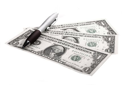 counting money against white background Stock Photo - 5022697