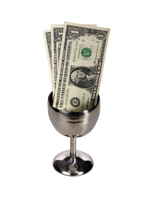 withhold: Dollar bills in a silver tip cup