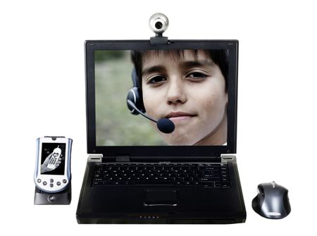 video surveillance: laptop video conference, isolated on white