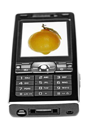 Mobile lemon, old technology concept image photo