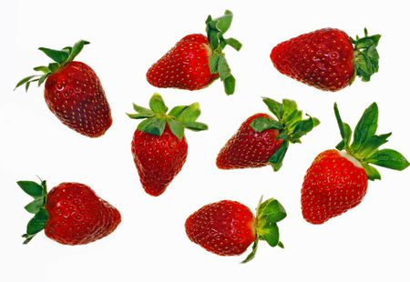 fruitage: Fresh and tasty strawberries isolated on white background Stock Photo