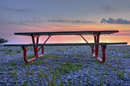 lakeside bench in Lake Huron Stock Photo - 5600223