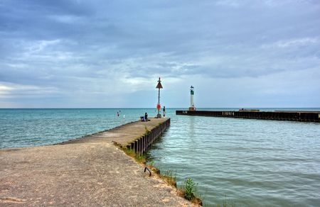 lighthouse at the harbor in Grand Bend in Lake Huron, Canada photo