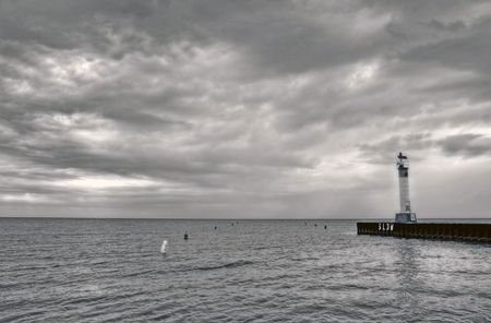 huron: lighthouse at the harbor in Grand Bend in Lake Huron, Canada
