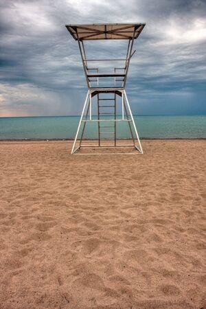 lifeguard tower in Grand Bend at Lake Huron, Ontario, Canada photo