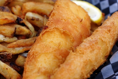deep fried: freshly cooked fish and chips