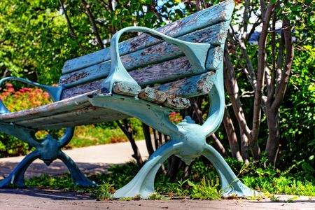 lakeside bench in Lake Huron Stock Photo - 5600376