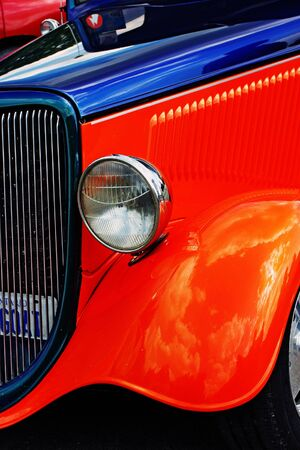 red hot vintage american car photo