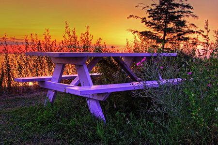 lakeside bench in Lake Huron Stock Photo - 5600354