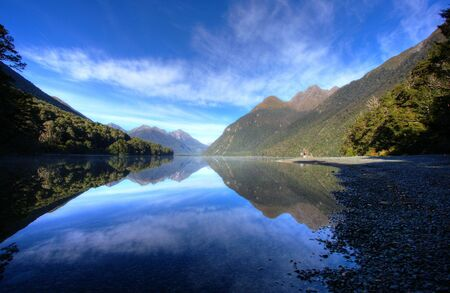 mitre: Mitre Peak in New Zealand at low tide