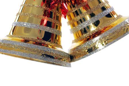 golden christmas bell against white background Stock Photo - 7173731