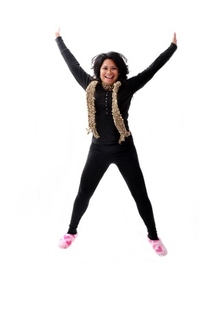 girl in pink slippers jumping up for joy photo