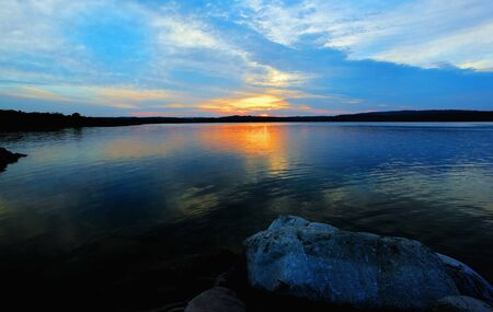 huron: sunset over manitoulin island Stock Photo