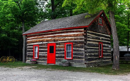 outbuilding: log shack in the Canadian countryside;  Stock Photo