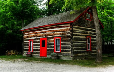 log shack in the Canadian countryside;  Stock Photo - 7927575