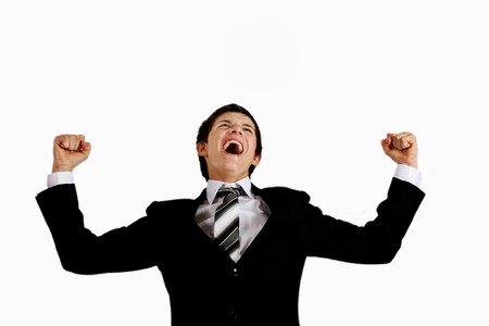 inconsolable: young man in a suit shouting out loudly