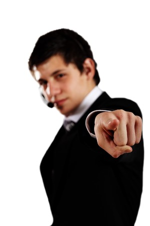 corporate young man pointing finger ahead photo