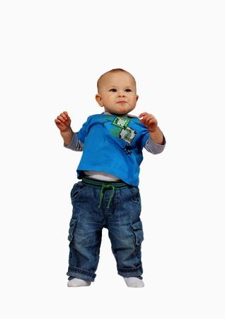 first step: gl�cklich Junge seine ersten Schritt