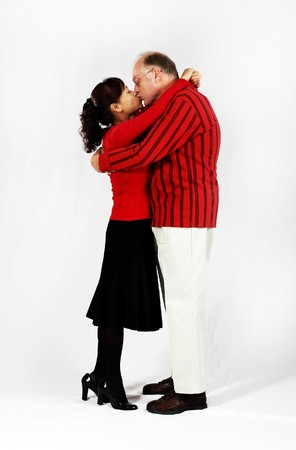 mixed age: happy mature mixed interracial couple in love  Stock Photo