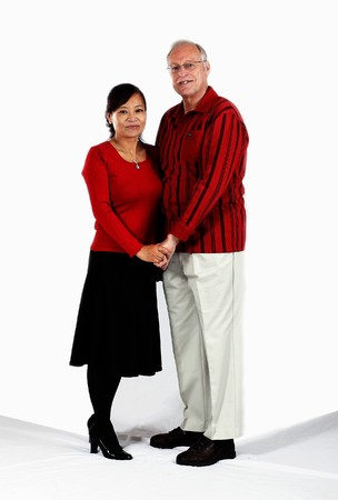happy mature mixed interracial couple in love photo