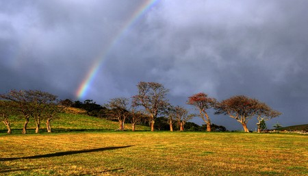 rainbow over a farm field Stock Photo - 7927576