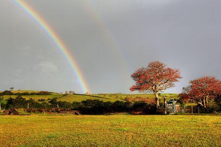 rainbow over a farm field photo