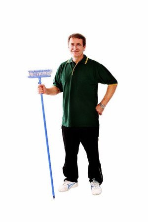 man with broom ready for work Stock Photo - 7920311