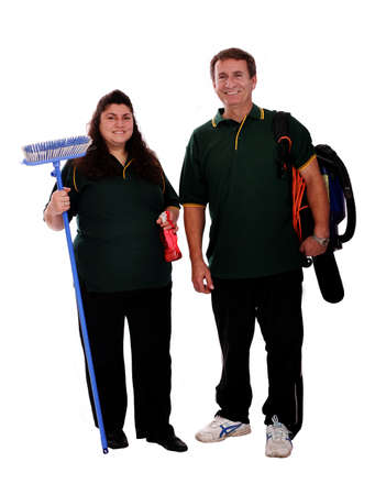couple of cleaners ready for work Stock Photo - 7927262