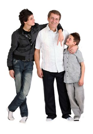 tow boys together with loving dad photo