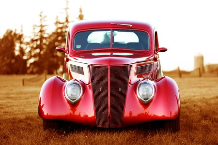 classic red vintage car photo