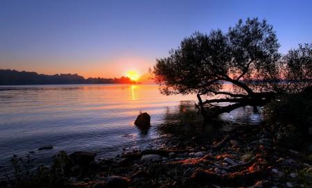 huron: sunrise over hamilton, ontario, canada