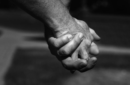 couple in love holding hands photo