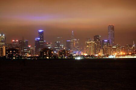 melbourne skyline at dusk photo