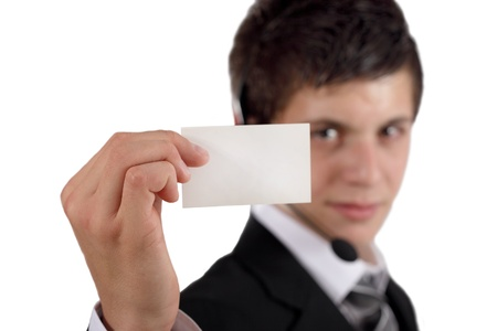 man holding blank business card photo