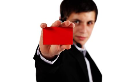 professional man presenting blank business card Stock Photo - 9852031