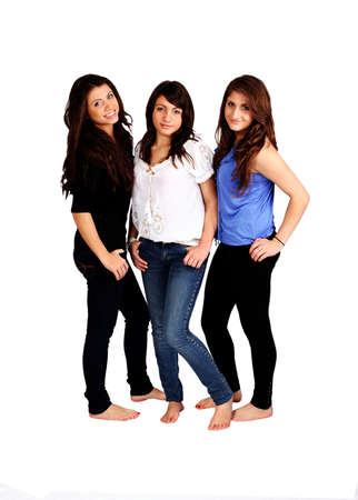 three happy sisters against white background Stock Photo - 9852091