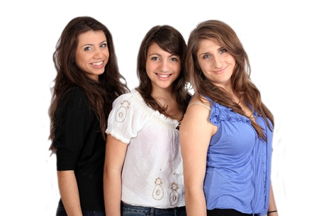 three happy sisters against white background Stock Photo - 9852095